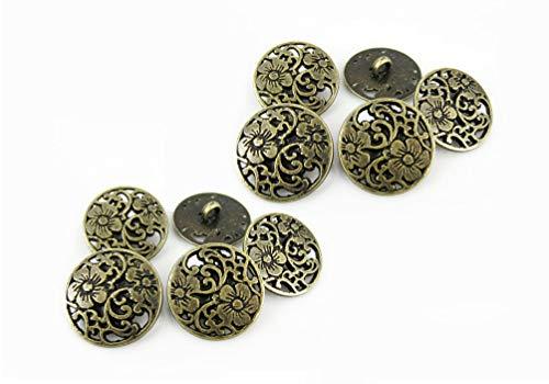 RECHERE 12 PCS Flower Pattern Openwork Metal Shank Buttons Craft for DIYS Sewing Embellishment (Antique Bronze,15mm)