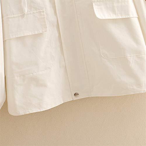 Cappotto Per Cappotti Girocollo Cute Cerniera Lampo Oversize Capispalla Goyfeelip Con White pwqCxn