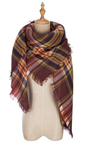 QIXING Large Tartan Fashion Women Scarf Lovely Best Gift Scarf Wrap Shawl Brown Mix (Plaid Scarves Fashion Ladies)