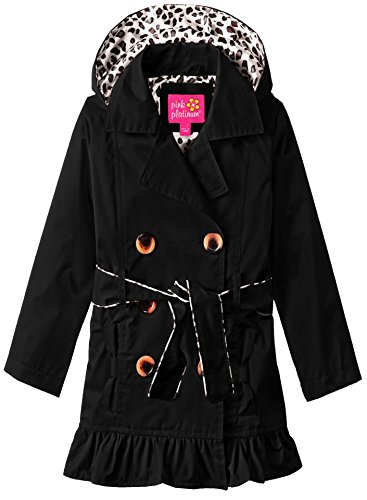 Pink Platinum Toddler Girls' Tod Classic Trench W/Satin Lining, Black, 4T Black Satin Trench Coat