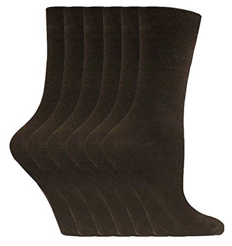 Brown Womens Socks (6 Pairs Ladies Casual Cotton Rich Plain Socks 4-9 us Various Colors PL30 (Dark Brown Mix))