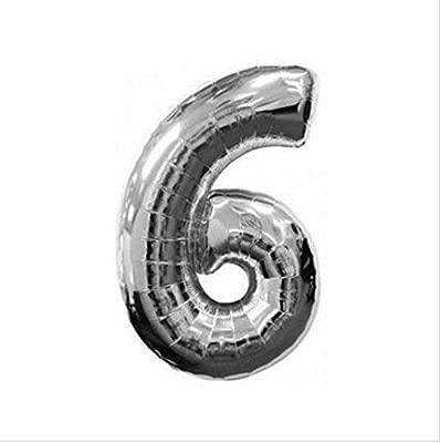 Globos con número - cumpleaños fiesta 0 - 9 plata/oro ...