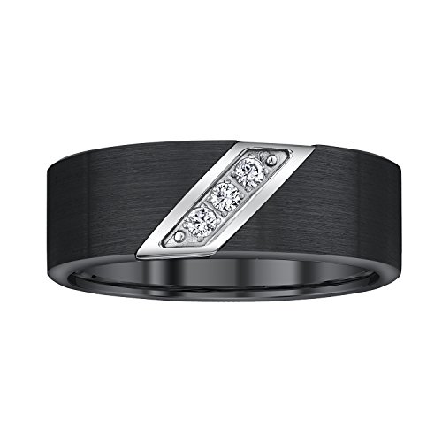 Men Black Tungsten Diamond Band (0.10cts),14