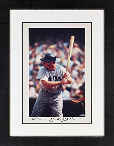 Mickey Mantle Autographed Photo - & Neil Leifer 16x20 Framed LE #274 500 - Upper Deck Certified - Autographed MLB Photos - Mickey Mantle Autographed Photo