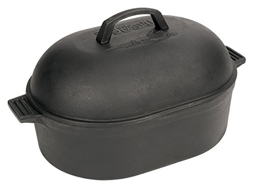 Bayou Classic 12 Quart Cast Iron Oval Roaster with Domed Lid 7418 Cast Iron Oval Roaster