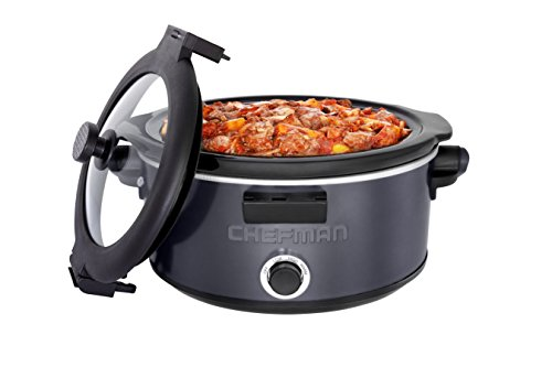 856432005539 - Chefman RJ15-5-LCH- GREY Slow Cooker with Carry Handle, 5 quart, Gray carousel main 5