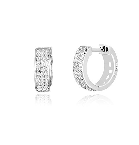 18K White / Gold Over Sterling Silver Cubic Zirconia Pave Huggie Hoop Earrings (18K White Gold) (How To Make A Halo Costume)