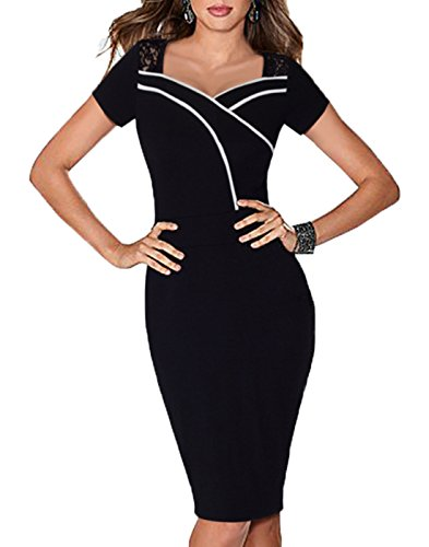 WOOSEA-Womens-Elegant-Lace-Short-Sleeve-Black-Sheath-Pencil-Dress