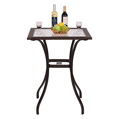 New Outdoor Patio Rattan Wicker Bar -Square Table Glass Top 28.5x28.5x37'' Yard Garden Furniture US -Fast Ship by Nice1159 (Image #1)