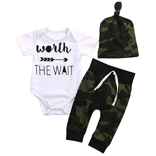 3PCS Set Newborn Clothes Camouflage Kids Match Wait The Wait Infant Romper Jumpsuit+Pant+Hat Outfit Bebek Giyim Kid Clothing Full Moon - Match Sleepwear Pants