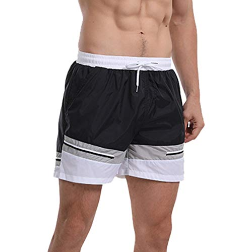 (Fashion Men's Strapped Hawaiian Beach Fit Sport Quick Dry Casual Shorts Pants, Mmnote Black)