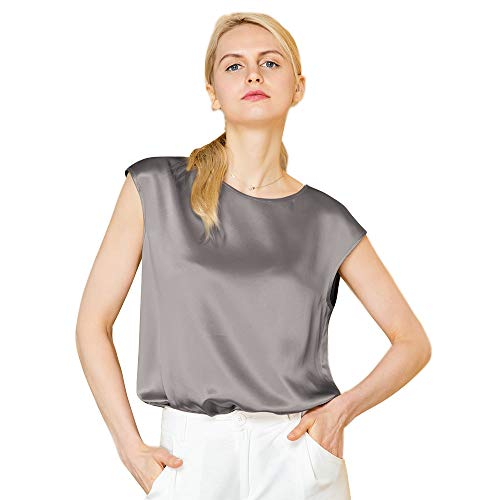 (LilySil Silk Blouse for Women Short Sleeve Summer Cool Comfy Charmeuse Silk Tops for Ladies Grey S/4-6)