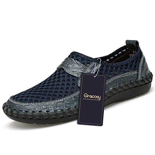 Tezoo Mesh Casual Shoes, Summer Men's Mesh Breathable Walking Loafers, Slip-on Shoes,Hiking Leather Shoes Dark Blue 10.5 by Tezoo