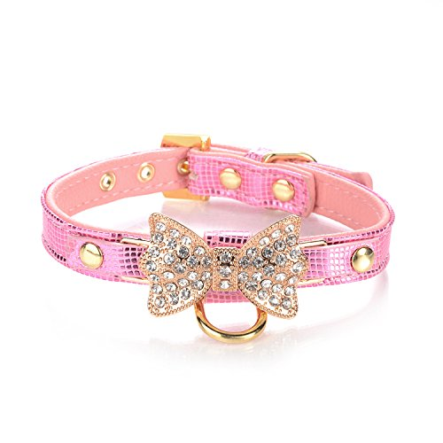 LOVPE Gold Bling Diamond Giltter Leather Fashion Collar with Ring for Tags for Small Dogs,Cat,Puppy and Kitty Walking Travel Party Gifts Tedd, poodle Dog,Bulldog and Yorkshire Terrier (S, Pink)