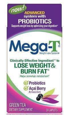 Mega-T Advanced System with Probiotics 30 Caplets (6pack) (Mega T Green Tea With Acai Berry)