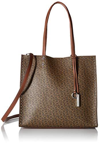(Calvin Klein womens Calvin Klein Zoey Monogram Logo North/South Large Tote, mini brown/khaki, One Size)