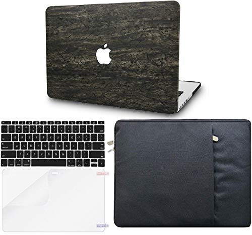 """KECC Laptop Case for MacBook Air 13"""" w/Keyboard Cover + Sleeve + Screen Protector (4 in 1 Bundle) Italian Leather Case A1466/A1369 (Brown Wood Leather)"""