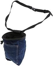 Jili Online Blue Denim Chalk Bag with Pocket Quick-Clip Belt for Rock Climbing/Weight Lifting/Bouldering/Gymna
