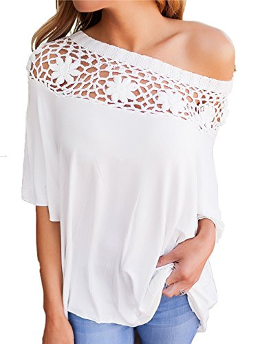 Famulily Womens Crochet Lace Pathwork Loose Fitted Off Shoulder Tops Blouse(L,White)
