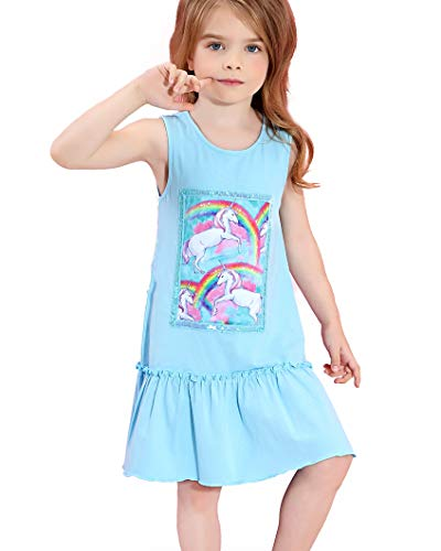 Liliane Girls Dresses Unicorn Dress Summer Blue Dresses for Girls 7-16 A145-67Y