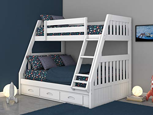 Discovery World Furniture Twin Over Full Bunk Bed with 3 Drawers White