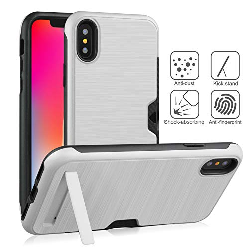 iPhone XR Card Case, Yoomer Dual Layer Shockproof & Scratch-Resistant Hybrid Impact Armor Defender Cover Silicone Rubber Skin Hard Back Cover with Kickstand &Card Slot Holder?Case for iPhone XR 6.1