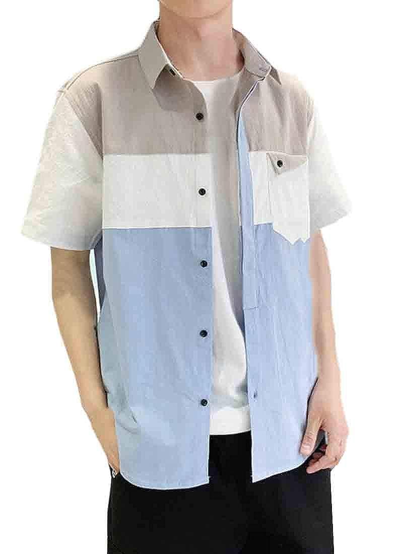 Lutratocro Mens Lapel Neck Curved Hem Pocket Hip Hop Contrast Color Button Down Shirts