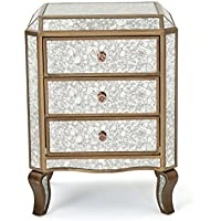Nicos Gold Finished Mirrored 3 Drawer Cabinet with Faux Wood Frame