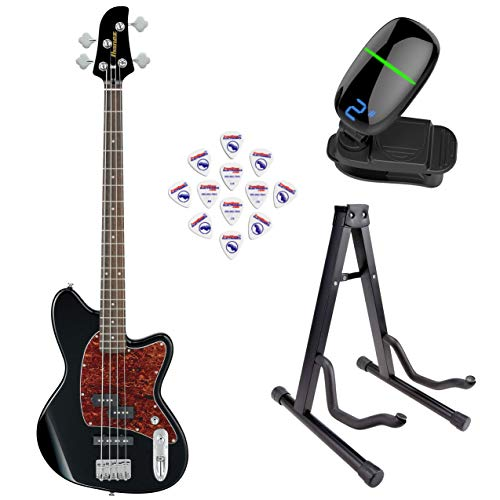 Ibanez TMB100 Talman Bass Standard Series Electric Bass Guitar (Black) with Front Row Guitar Stand, tuner and pick sampler