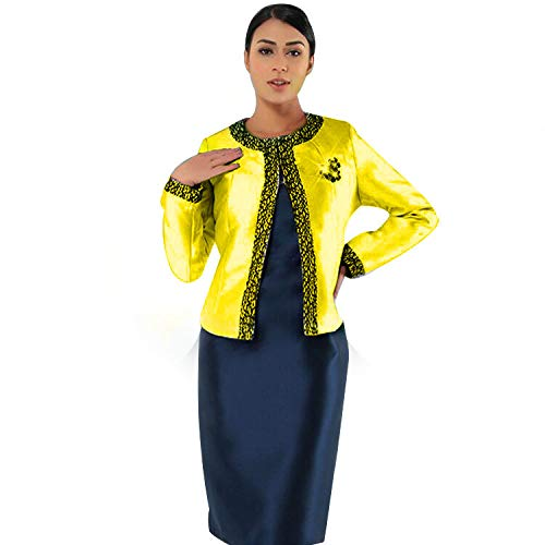 Kueeni Women Church Suits with Hats Church Dress Suit for Ladies Formal Church Clothes (Citron/Navy Suit, ()
