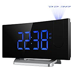 [Update Version]Projection Clock, [Curved-Screen]Atmoko Digital Alarm Clock, FM Clock Radio with USB Charging, Dual Alarm, 5'' LED Display Projected Time on Ceiling, Battery Backup, Blue