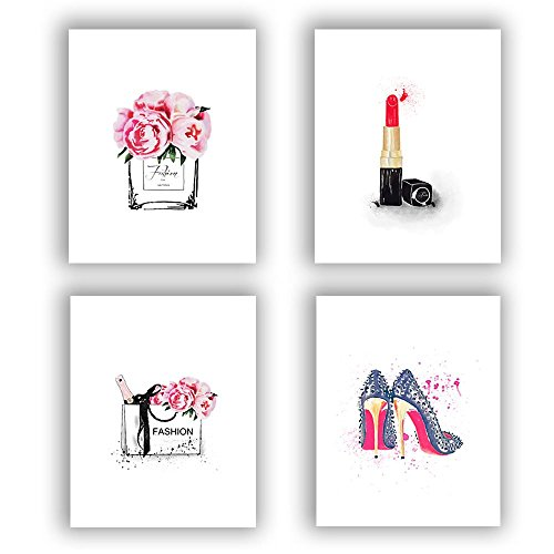 "Fashion Women Art Print Set of 4 (10""X8"") Art Painting for Women Gifts,Canvas Painting Perfume Handbags Lipstick Shoes Posters and Fashion Prints Wall Pictures for Living Room Home Decor,No Frame"