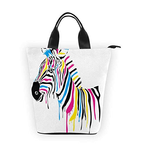 InterestPrint Nylon Cylinder Lunch Bag Zebra Colored Stripes Tote Lunchbox Handbag -