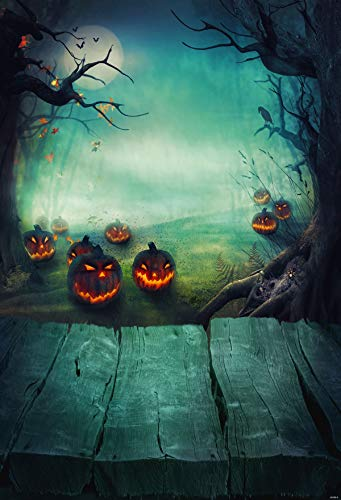 (5(W)x7(H) ft Halloween Photography Backdrop Pumpkin Photo Background Light Green Wood Block Backdrops Photo for Children)
