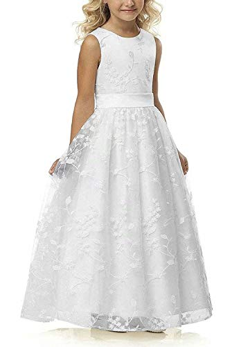 A line Wedding Pageant Lace Flower Girl Dress with Belt 2-12 Year Old (Size 10, White)