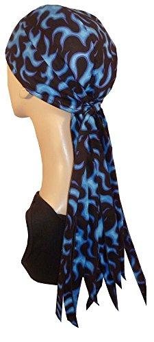 Nomad Skull Cap Biker Style Headwraps Doo Rags - Blue Liquid Flames on Black