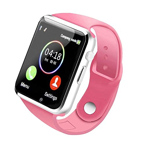 Smart Watch - 321OU Touch Screen Bluetooth Smart Watch Smartwatch Phone Fitness Tracker SIM SD Card Slot Camera Pedometer Compatible iPhone iOS Samsung LG Android Men Women Kids (Pink)