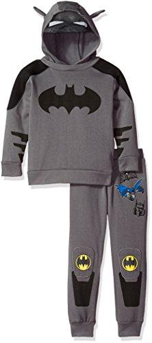 Warner Brothers Little Boys' 2 Piece Batman Costume Hoodie and Pant Set, Black, 6