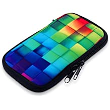 """kwmobile phone bag neoprene sleeve for smartphones M - 5,5"""" - smartphone bag case protective cover with Design Rainbow cubes - e.g. compatible with Samsung, Apple, Wiko"""
