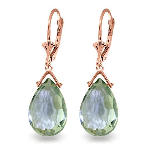 10.2 Carat 14K Solid Rose Gold Leverback Earrings Briolette Green Amethyst