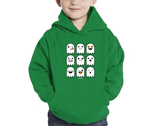 Halloween Ghost Icons Hoodie Sweatshirt (Kelly Green, 2T) -