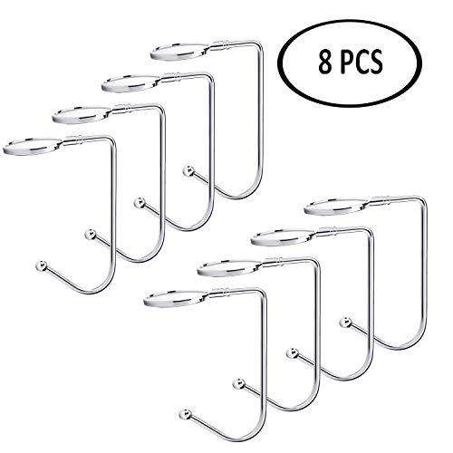 ATROPOS 8PCS Christmas Stocking Holders-Mantel Silver Hooks Hanger Christmas Safety Hang Grip Stockings Clip for Christmas Party Tree Fireplace Decoration (Silver Stocking Hanger)