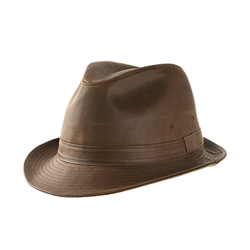 WITHMOONS Fedora Hat Vintage Weathered Leather Indiana Jones AC6387 (Brown, L)