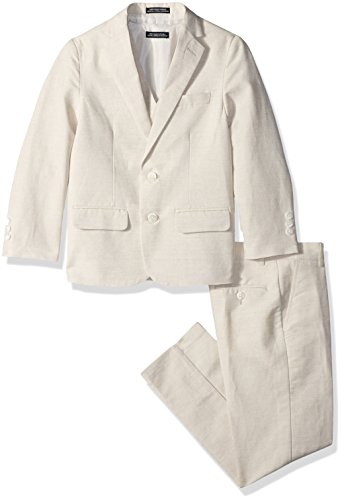 Steve Harvey Boys' Big Three Piece Suit Set, Natural Linen, 10 (Linen Suit For Boys)