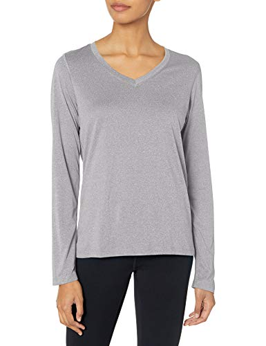 Hanes Women's Sport Cool Dri Performance Long Sleeve V-Neck Tee, Granite Heather, 2X Large (Big Shirt Mountain)