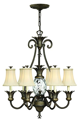 Hinkley Outdoor Pearl - Hinkley 4886PZ Tropical/British Colonial Seven Light Foyer from Plantation collection in Bronze/Darkfinish,
