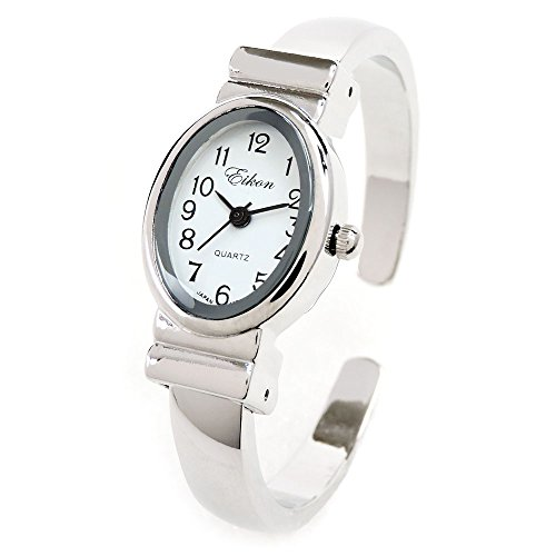 (Silver Small Size Oval Face Metal Band Women's Bangle Cuff Watch)