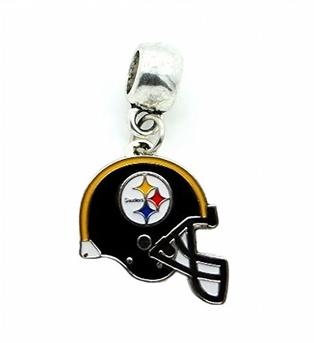 Heavens Jewelry Pittsburgh Steelers Football Team Charm Pendant for Necklace European Charm Bracelet (Fits Most Name Brands) DIY - Steelers Pittsburgh Helmet Pin