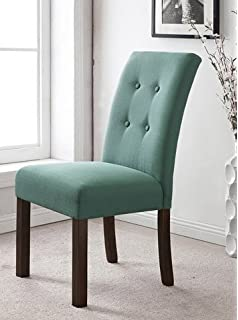 HomePop Modern 4 Button Tufted Aqua Blue Upholstered Parson Dining Room Chairs Set Of