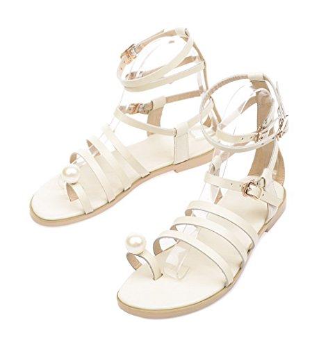 VogueZone009 Women's Open Toe No Heel Buckle Solid Sandals Apricot LYi0Iy1c